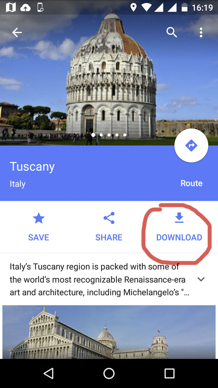 Traveling to Italy with Google Offline Maps
