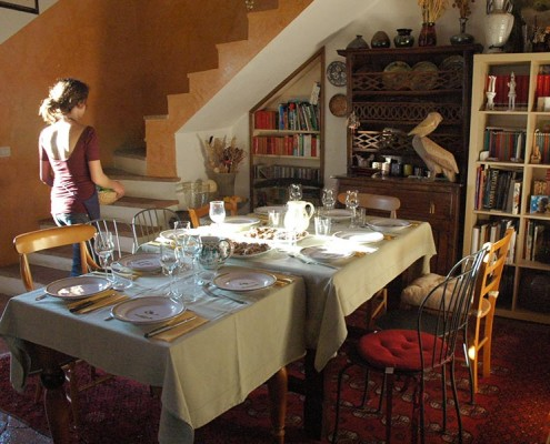 Dining room at the villa in Tuscany